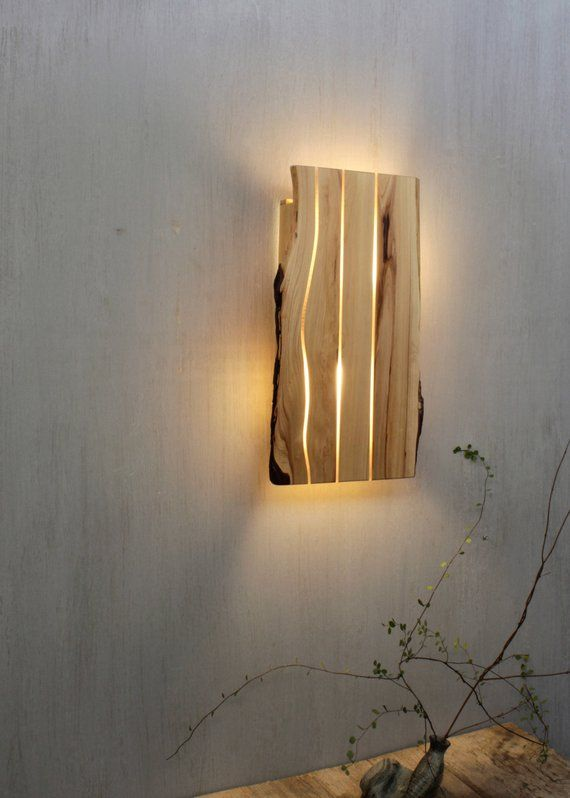 Wooden Sconce Wooden Wall Lamp Geometric Lighting Wood Wall