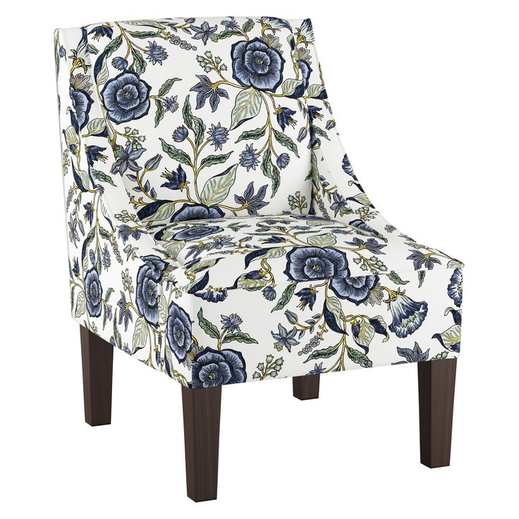 Best Hudson Swoop Arm Chair Blue Floral Threshold Blue 640 x 480