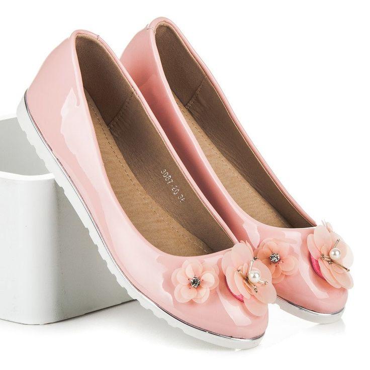 Ružové balerínky s kvetmi 3087-20P