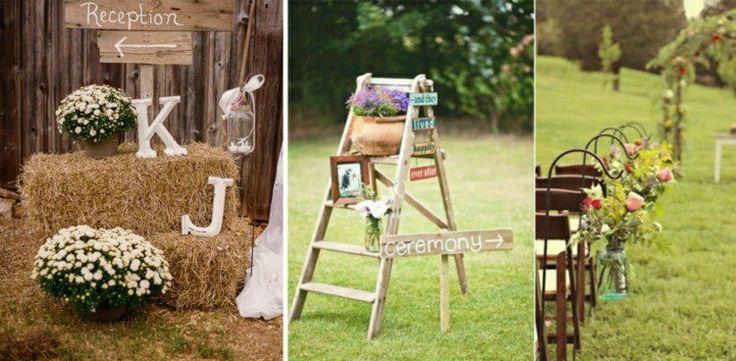 deco-mariage-champetre-paille-échelle-bois-chaises-décorées-fleurs