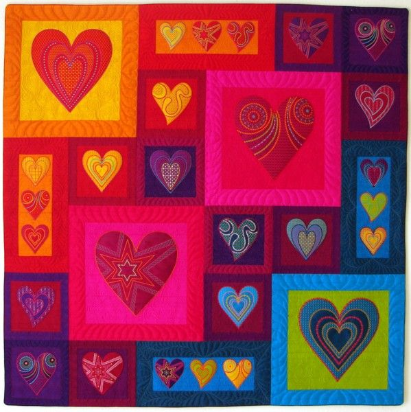 Hearts in Silk Quilt Top by Sarah Vedeler, Applique & Machine Embroidery ----- Bright and beautiful!