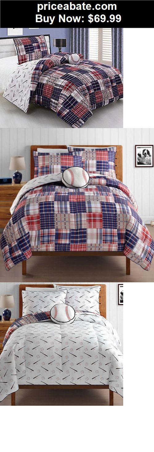 Kids-Bedding: NEW Twin Full Bed Bag 4 pc Kids Comforter Set Baseball Sports Madras Plaid NWT - BUY IT NOW ONLY $69.99