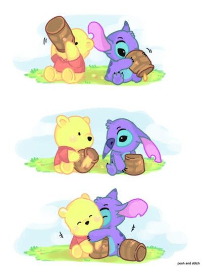 Winnie the Pooh and Stitch. I didn't know I needed this in my life. but ohmygod the cute