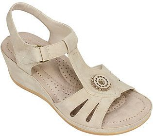 Cliffs by White Mountain Wedge T-Strap Sandals- Fabia