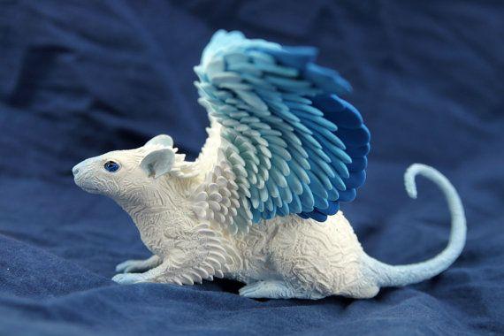 Frost Ghost Winged Rat Mouse figurine art sculpture pet, Rat angel, rat totem, amulet, fairy, fantasy