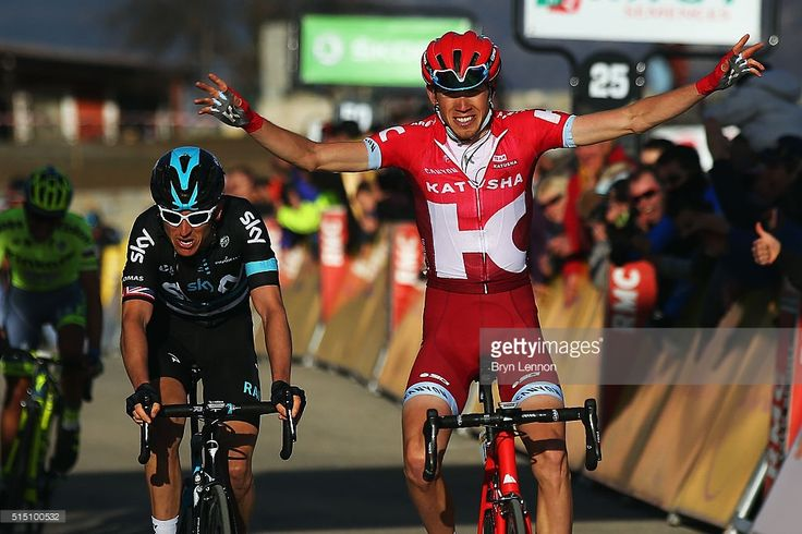 Ilnur Zakarin of Russia and Team Katusha crosses the line to win stage 6 of the 2016 Paris-Nice, a 177km stage from Nice to La Madone d'Utelle on March 12, 2016 on La Madone d'Utelle, France.  #ParisNice #rm_112