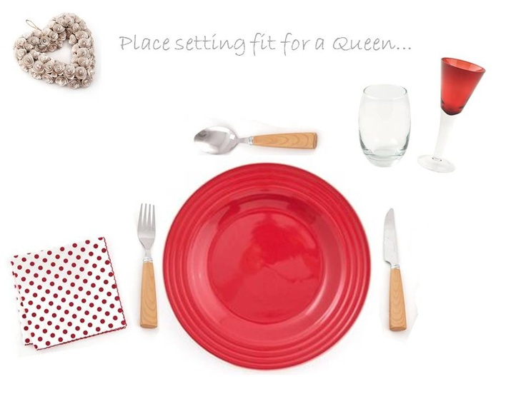 Place setting fit for a Queen... Items include: Groovin Red Embossed Plate, Dried Rose Heart - White, Scatter Polka Running Stitch 4, Havana V Shaped Red, Bellize Hi Ball 450ml clear,