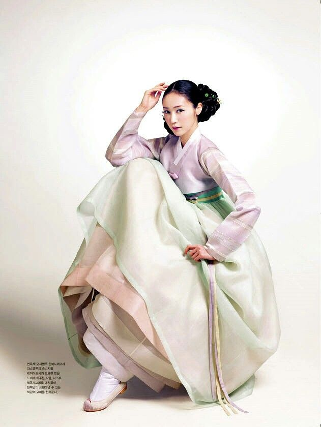 한복 Hanbok / Pastel pale purple jeogori and layered pastel chima / Traditional Korean dress