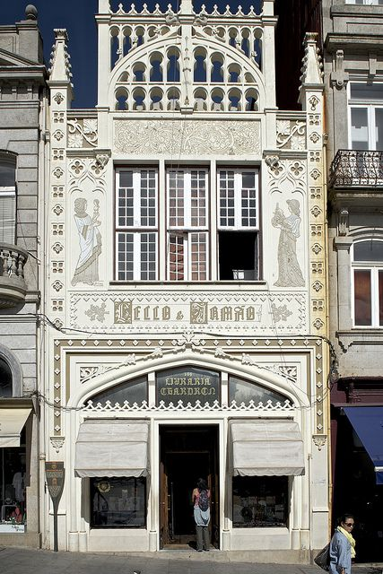 The Art Nouveau facade of the Lello Bookstore in Porto, Portugal. LIVRARIA LELLO