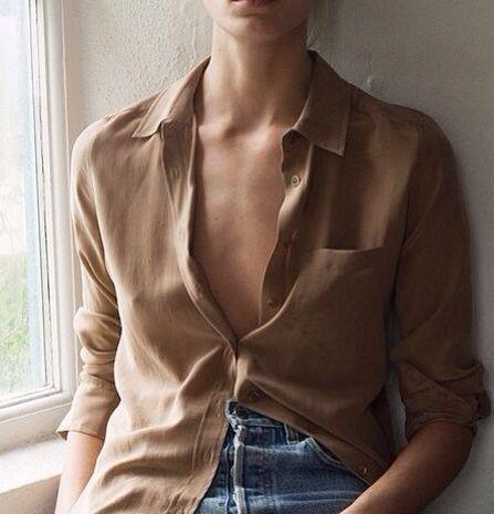 neutral silk button-down shirt