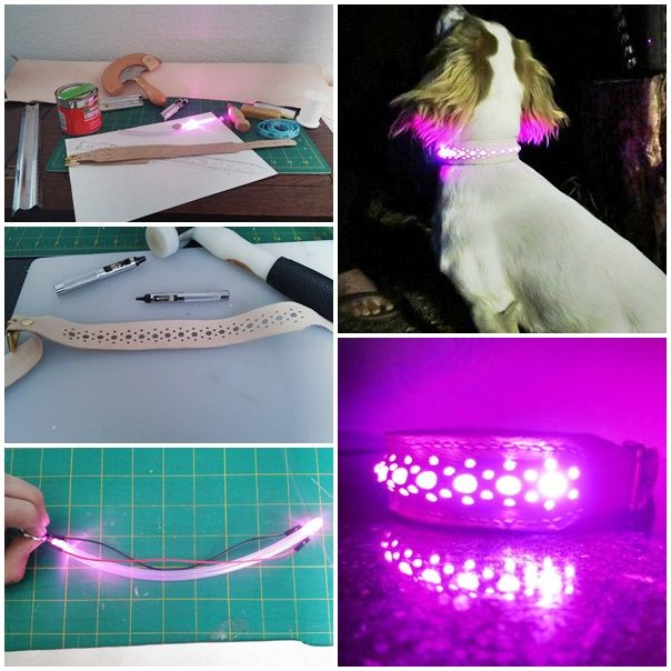 This step by step tutorial of how to make a homemade led light up dog collar project is simple to make and is a great way for your dog to be seen at night.