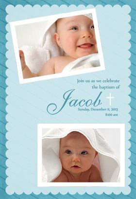 Stamped Frame Blue Printable Invitation Customize Add Text And Photos Print For Free Baptism Ch Christening Invitations