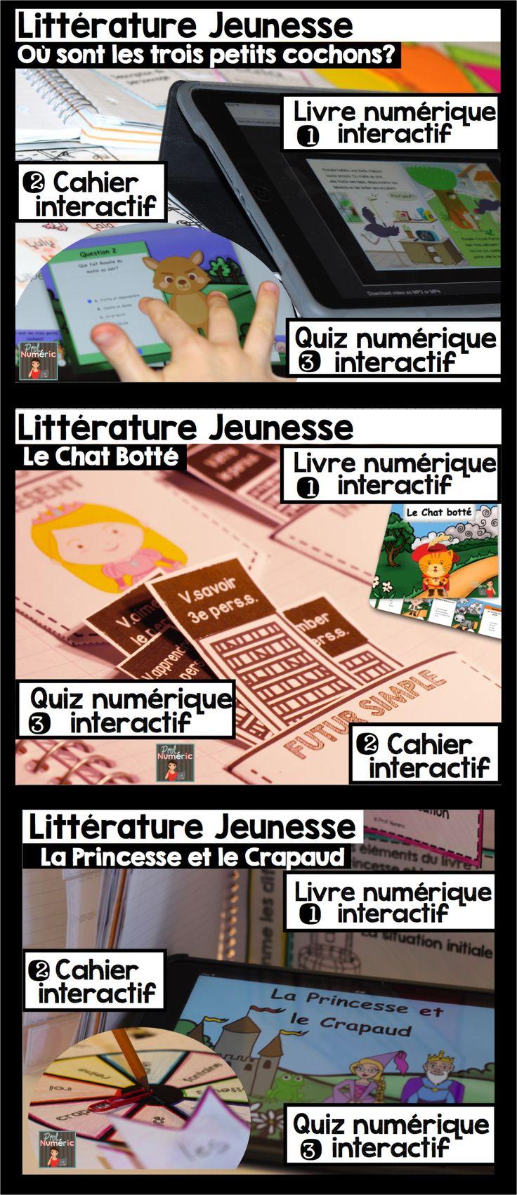 GROWING BUNDLE//Ensemble de Cahiers interactifs en lien avec la #littérature #jeunesse. iBook inclus pour #iPad avec un #quizz #interactif de 20 questions (compréhension de lecture) + Histoire numérique #audio #FSL #frenchteacher #TPT