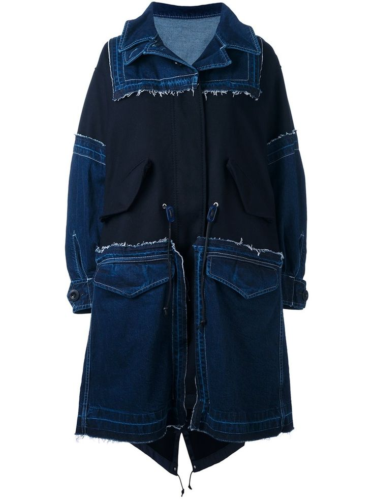 Sacai oversized frayed denim parka