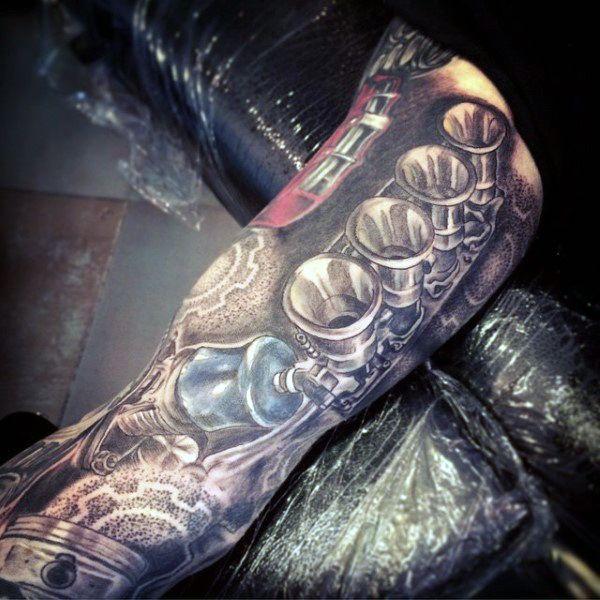 Arm Sleeve Car Engine Piston Tattoos On Males