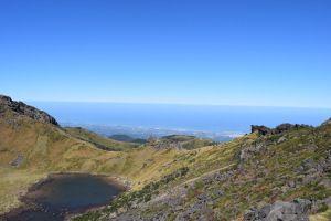View of Jeju-Si from Mt. Hallasan, Jeju Island, South Korea #travel #outside #mountains #hiking