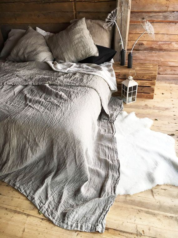 Rustic Linen Throw Blanket Linen Bed Cover Textured by linenbees