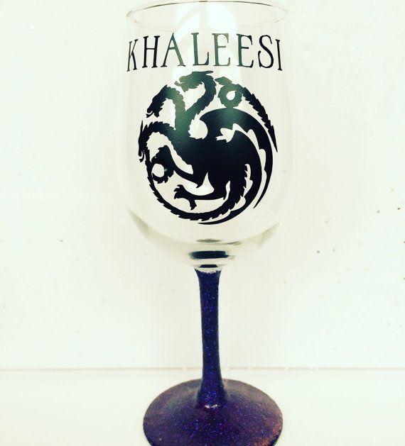 Game of Thrones Wine Glass-Khaleesi Wine by FuzzHeadCrafts on Etsy