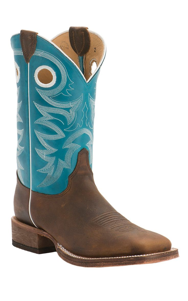 Justin Bent Rail Men's Copper with Bright Blue Top Double Welt Square Toe Western Boots | Cavender's