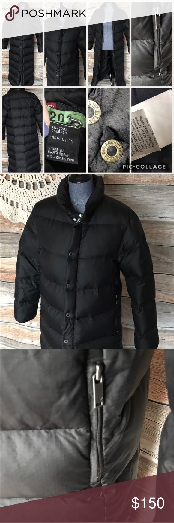 "Diesel Puffer long Duck Down Black Coat Trench Size Large  Measurements would accommodate a size 10/12 lady.  Solid Black  Retailed for $800   Full length puffer goose/duck down  Diesel Coat  There are cinch cords to help adjust the fit of the waist,  Extremely warm!  Zips & Snaps  Low price reflects missing hood.  Keep in mind that this designer brand runs small:  (((Measurements are as follows)))  Shoulder to Shoulder seam:17""  Bust:40""  Waist:40""  Hips:42""  Length:55""  No rips or stains…"