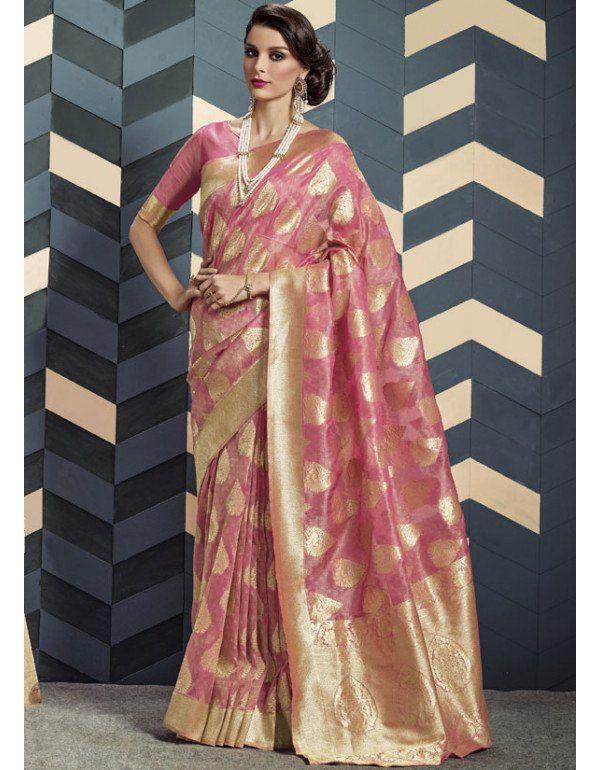 0411bfa4157b3a Onion Pink Silk #Saree | Silk Sarees | Saree, Silk sarees, Silk