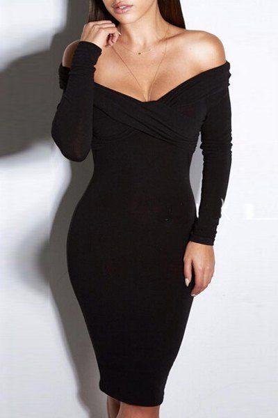 Crossed, Off-the-Shoulder, Black Dress.