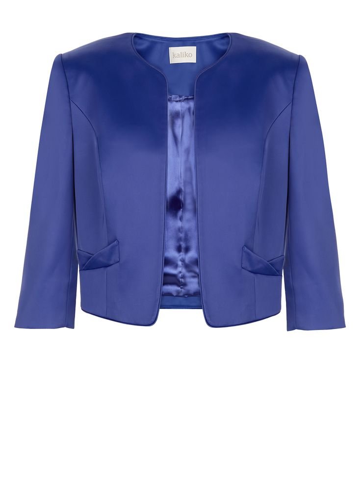 Satin edge to edge jacket in vibrant blue a perfect match for blue floral dress was €169 now only €99.