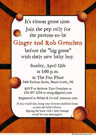 Bouncin Basketball Baby Shower Invitation Boy Court