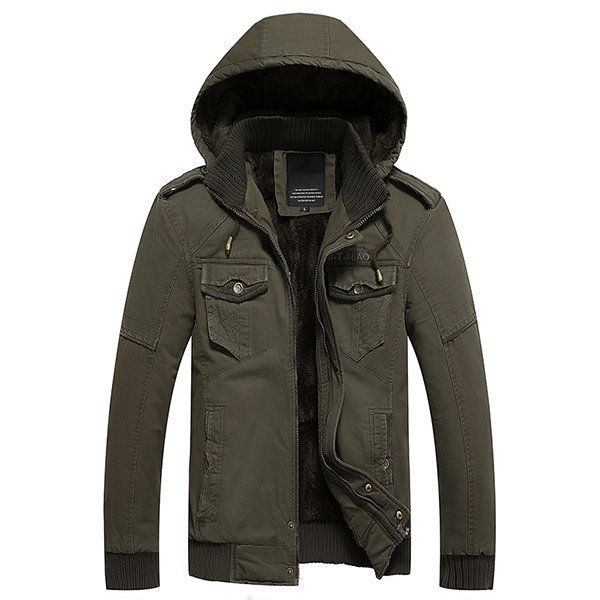 Winter Detachable Two Pieces Windproof Double Bust Pockets  Hood Thicken Cotton Jackets for Men