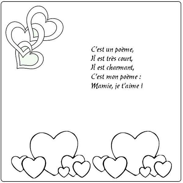Gabarit - Poème carte coeur pour la fête des mamies