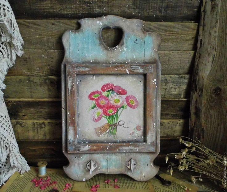 """Купить """"Домик в деревне - Маргаритки"""" - Деревянная ключница - разноцветный, ключница, винтаж, состаренный стиль"""