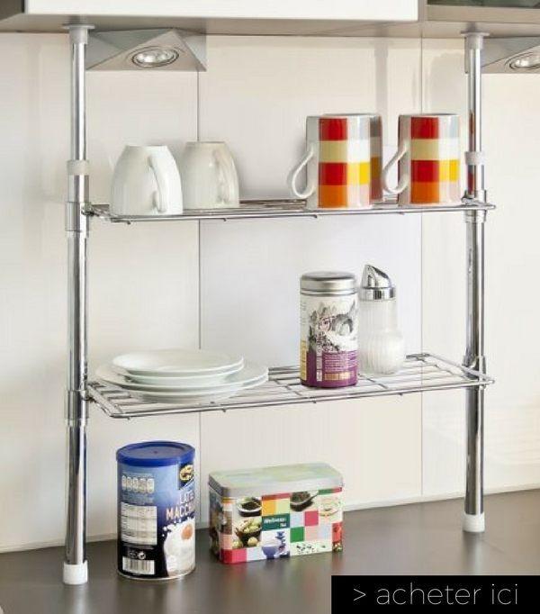 Une étagère télescopique pour économiser de l'espace sur votre plan de travail  http://www.homelisty.com/vie-facile-objets-maison/