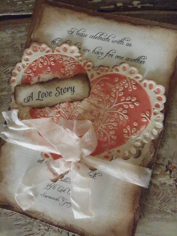 Romantic Coral Shabby Old Fashioned Heart Wedding Invitation. A love story....