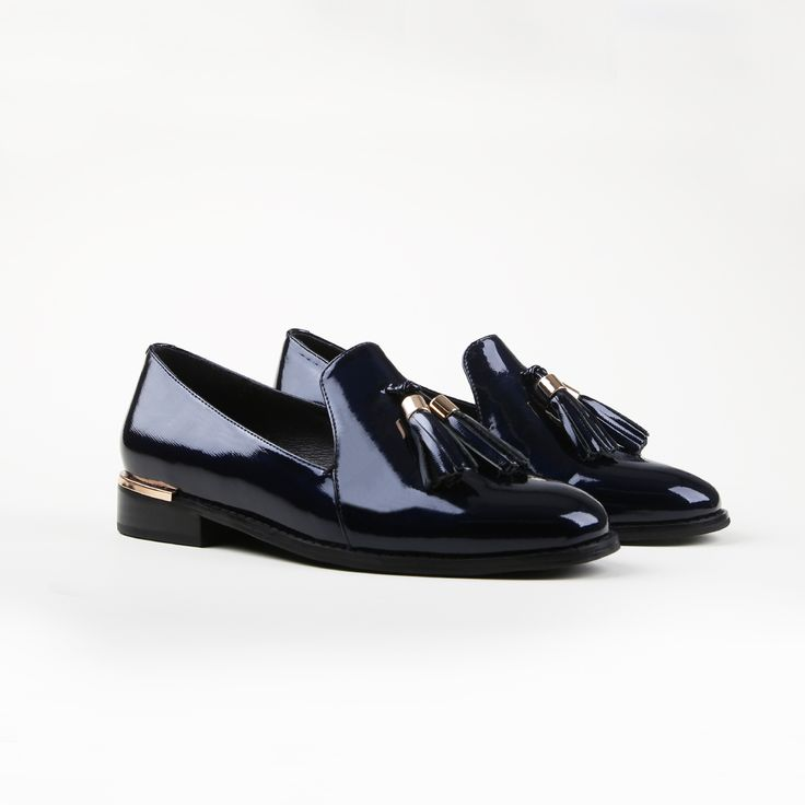 Shiny & New. The Miss Sofie 'Major' patent navy leather loafer. Shop: https://www.shoeconnection.co.nz/womens/shoes/flats/miss-sofie-major-leather-loafer?c=Navy%20Patent