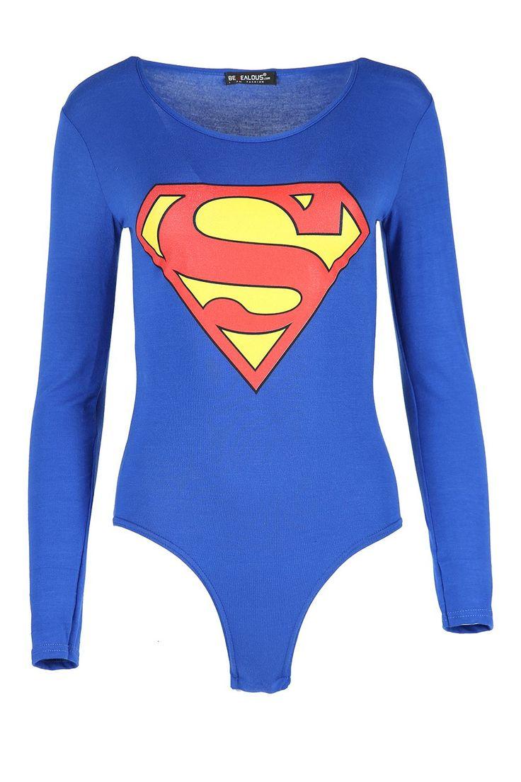 Haut-Femme-Batman-superman-dames-body-leotard-stretch-t-shirt-top-plaine-UK-8-22