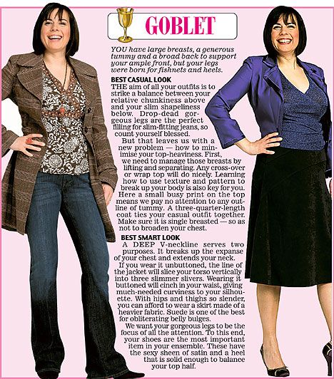 Trinny and Susannah show off the clothes to suit the Goblet women's body type.
