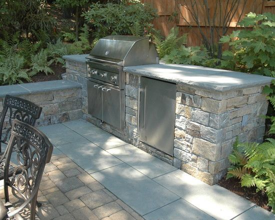 Bbq Landscape Design Stones Wall Bbq Grilled Kitchens Ideas Small