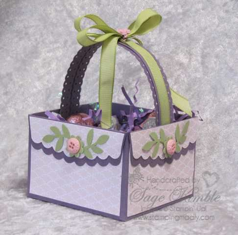 Scallop Envelope die basket. Great Easter or Mother's Day idea. I love how easy it is to make a sweet litttle box or basket with the Scallop Envelope Die. They're fun to decorate and can serve as a treat holder for any occasion. They can be made into a great gift box, too, and I've even made a lid for some. www.stampingmadly.com