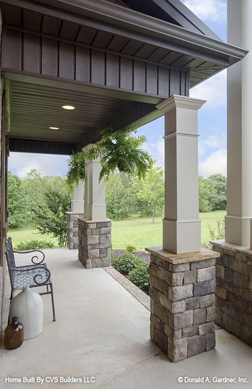 Front porch! New photos of The Jerivale home plan 1033 built by Calvin Snow, CVS Builders! #WeDesignDreams #DonGardnerArchitects