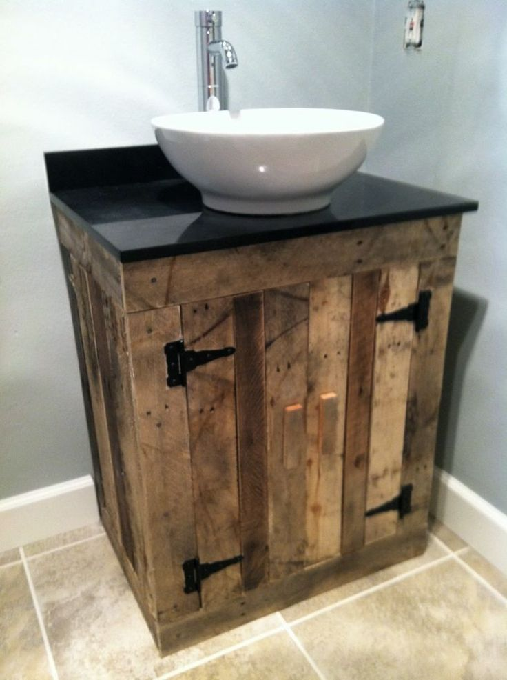 Pallet Vanity. I like this but would b better if it was longer                                                                                                                                                     More