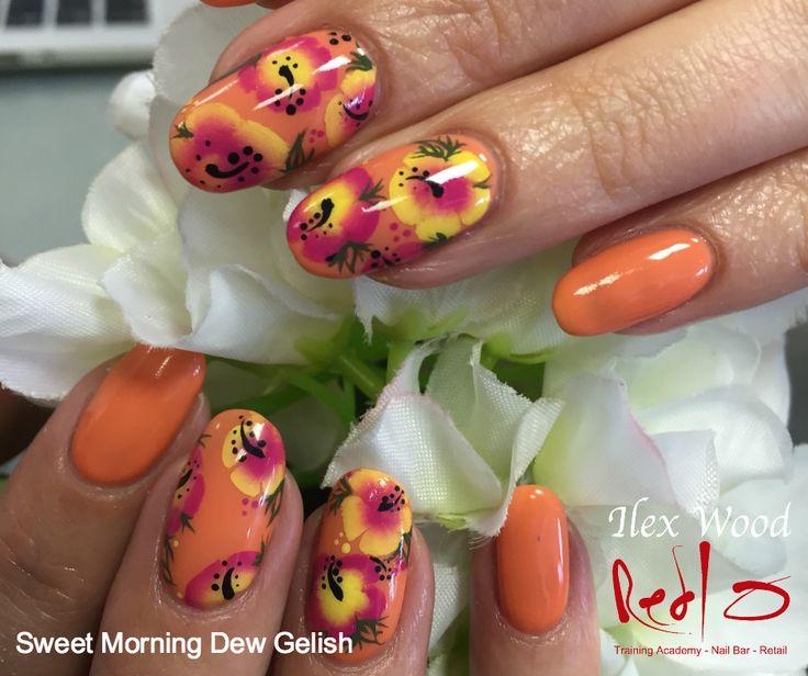 Summer Nails, Holiday Nails, Sweet Morning Dew Gelish, Spanish Flower, Floral Nails, Orange Nails