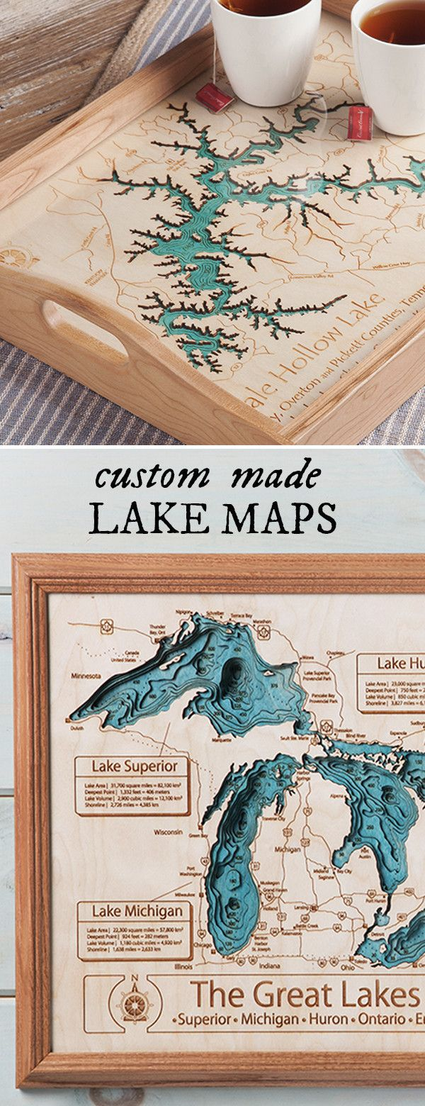 Custom Made Maps And Cribbage Boards For Commemorating That Special Lake In Your Life