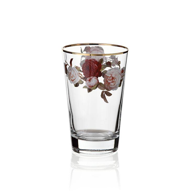 Bernardo Rose Garden Su Bardağı / Drinking Glass #bernardo #tabledesign #rose #vintage