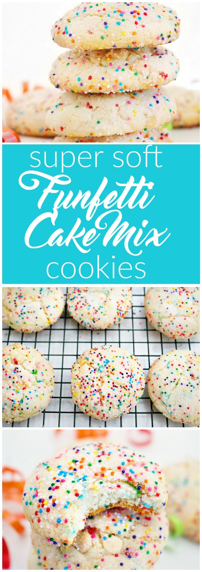 These funfetti cake mix cookies are super soft and moist, just like your favorite vanilla birthday cake! Next time you are craving cake, try these!
