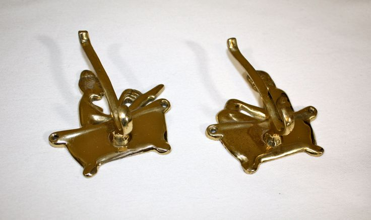 Vintage brass robe towel hook man woman claw foot tub bathroom hooks made in India by TraderTumbleweeds on Etsy
