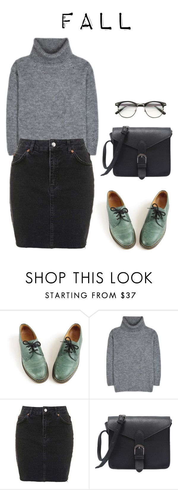 """""""Junior's ideal type (fall)"""" by got7outfits ❤ liked on Polyvore featuring Dr. Martens, Yves Saint Laurent and Topshop"""