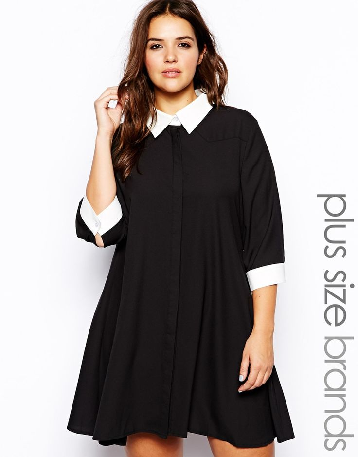alice amp you   3 4 sleeve swing dress with contrast collar plus