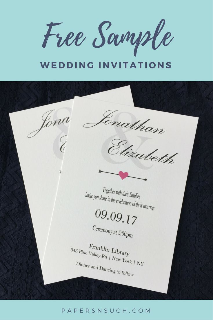 Simple yet elegant wedding invitation with pink heart arrow accent printed on beautiful linen cardstock. Available as instant download template or get them printed and shipped to you. Get your free sample today! #weddinginspiration #invitations #bride #wedding