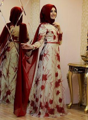 Sarmasık Evening Dress - Maroon - Gamze Polat