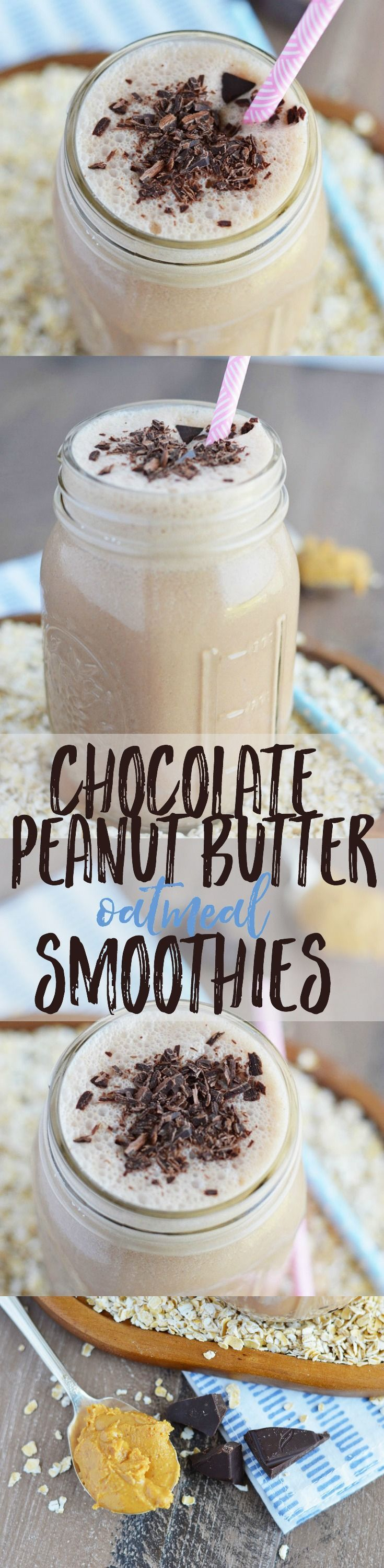 Chocolate Peanut Butter Oatmeal Smoothies from What The Fork Food Blog. These smoothies are healthy, filling, and full of flavors you love - they make a great on-the-go breakfast! | whattheforkfoodblog.com